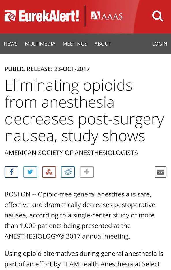 Eliminating opioids from anesthsia