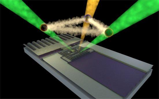 Ilustração artística de três fótons emaranhados tirados do vácuo quântico - eles são usados como substitutos para os qubits. [Imagem: Antti Paraoanu]