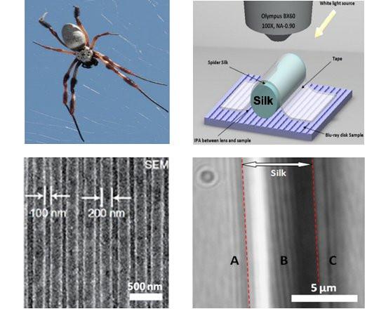 seda de aranha (silk) foi usada para ver estruturas na superfície de um disco Blu-ray (embaixo) que não aparecem na imagem de um microscópio óptico em sua resolução máxima. [Imagem: Bangor University/University of Oxford]