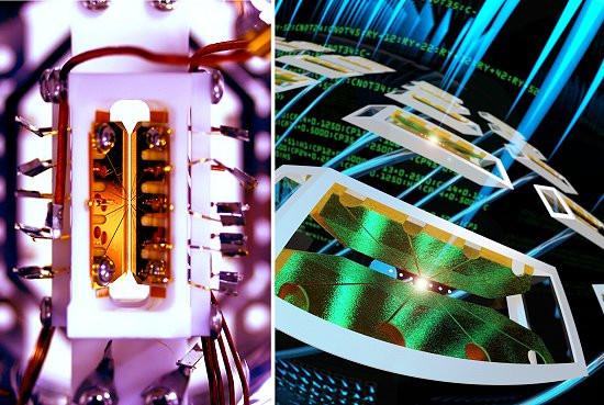 Este chip quântico (esquerda) é um módulo, permitindo que vários deles sejam conectados para criar computadores quânticos práticos (ilustração à direita). [Imagem: JQI/Universidade de Maryland]