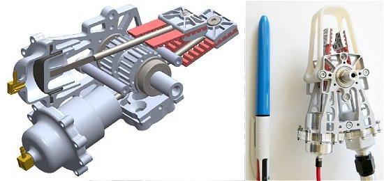 Esquema e protótipo do sistema de acionamento hidrostático. [Imagem: Disney Research]