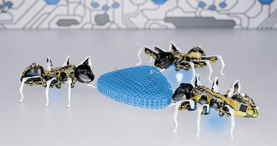 Formigas biônicas trabalhando em conjunto para carregar um objeto que nenhuma delas conseguiria carregar sozinha. [Imagem: Festo/Divulgação]
