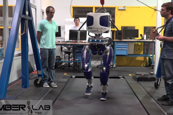 Human-like walking on the humanoid robot DURUS. The robot displays the natural heel-strike and toe push-off behaviors that play a key role in human locomotion. Credit: AMBER-Lab/Youtube