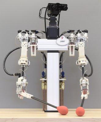 """A nova transmissão foi usada para construir um robô humanoide simples - que a equipe chama de """"robô gentil"""" - com dois braços e câmeras estéreo montadas na cabeça, que transmitem os sinais de vídeo para um operador que o controla à distância. [Imagem: Disney Research]"""