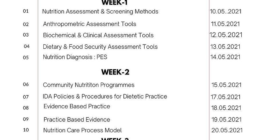 15 Days Virtual Internship on Nutrition and Dietpreneurship