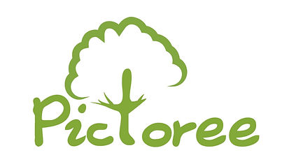 Pictoree Logo | 't' looks like a tree with leaves around it.