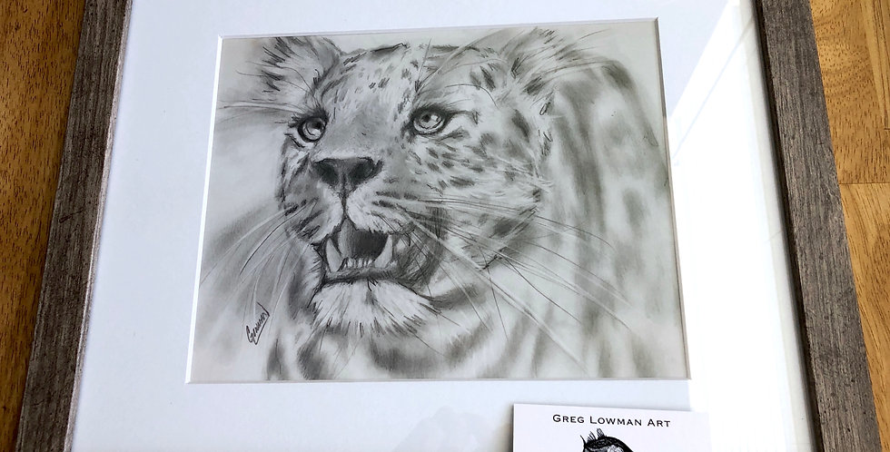 11x14 inch framed jaguar art print for sale