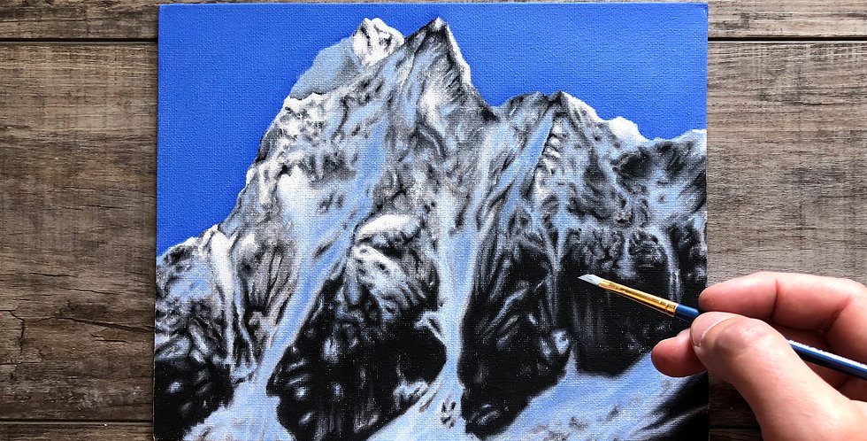 snow-covered mountain oil painting