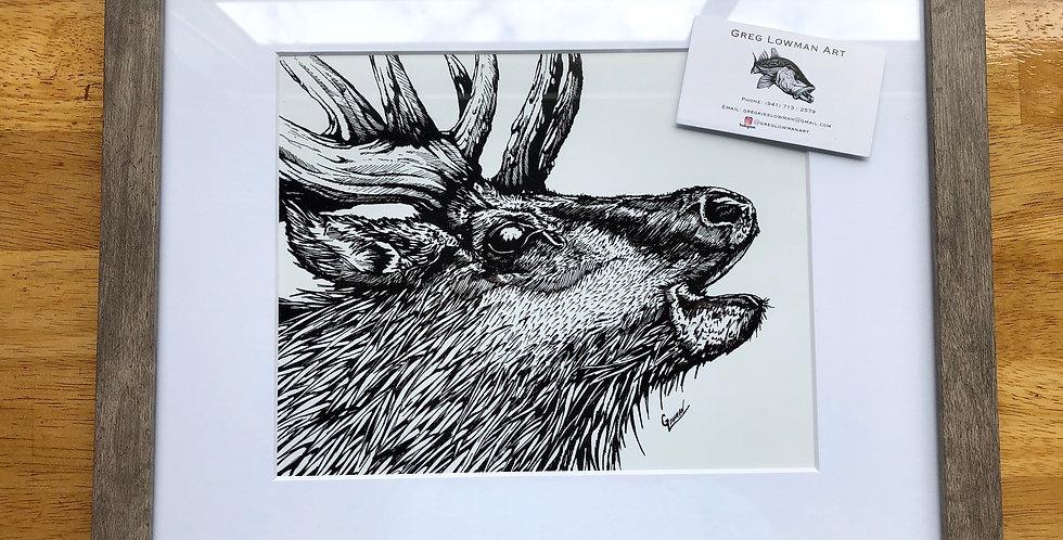 framed elk art print