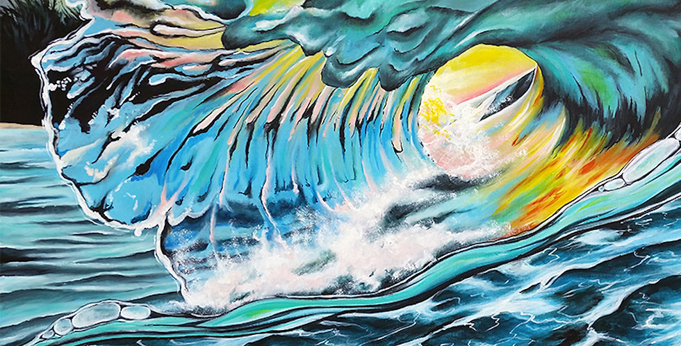 acrylic sunset and wave painting