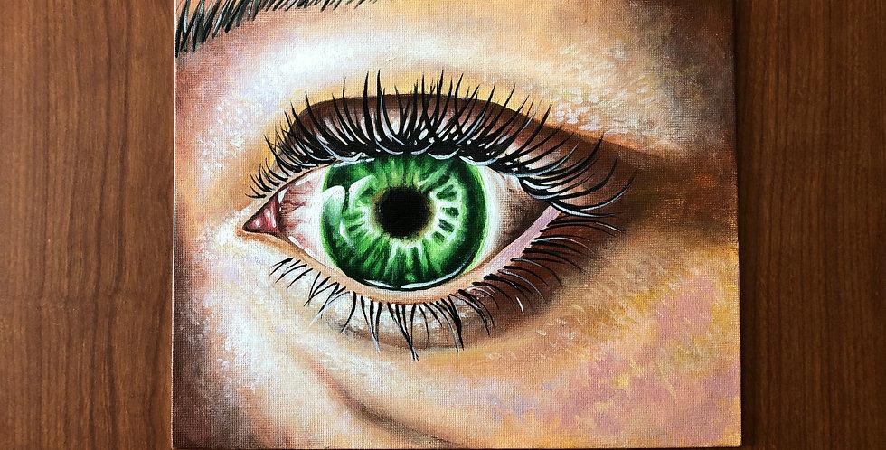 green human eye painting