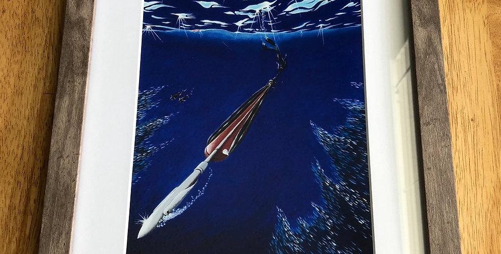 framed spearfishing art print for sale