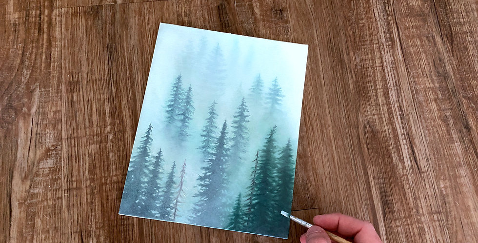 acrylic forest in fog painting
