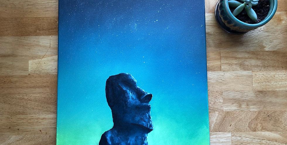 ORIGINAL Moai Statue Painting
