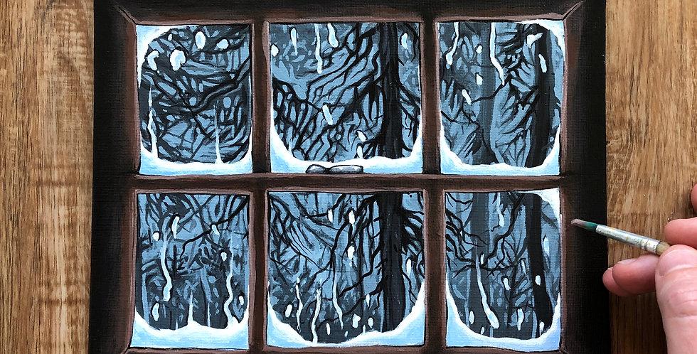 ORIGINAL Cabin Window Painting