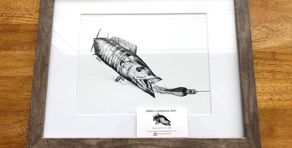 framed wahoo fishing art print