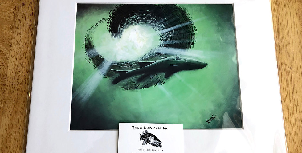 unframed snook and bait fish print