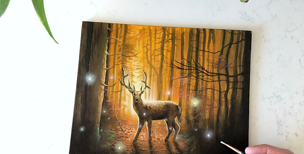 deer in a forest acrylic painting
