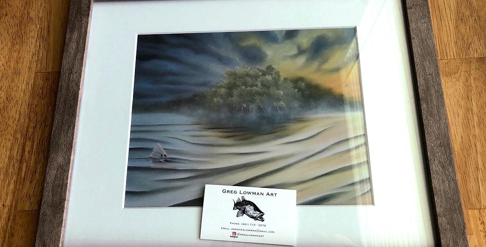 framed mangrove shoreline art print