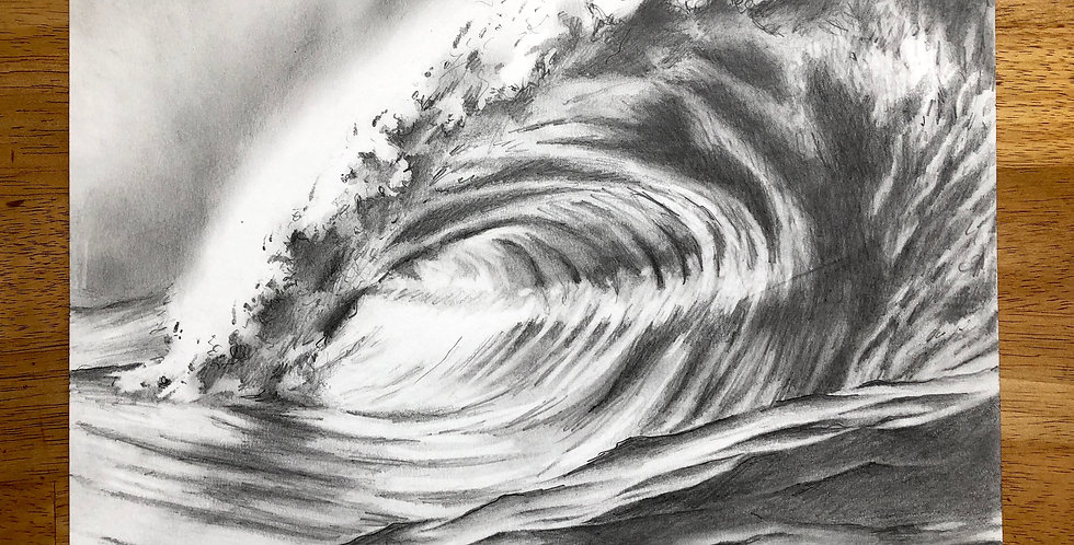 greg lowman ocean wave drawing for sale