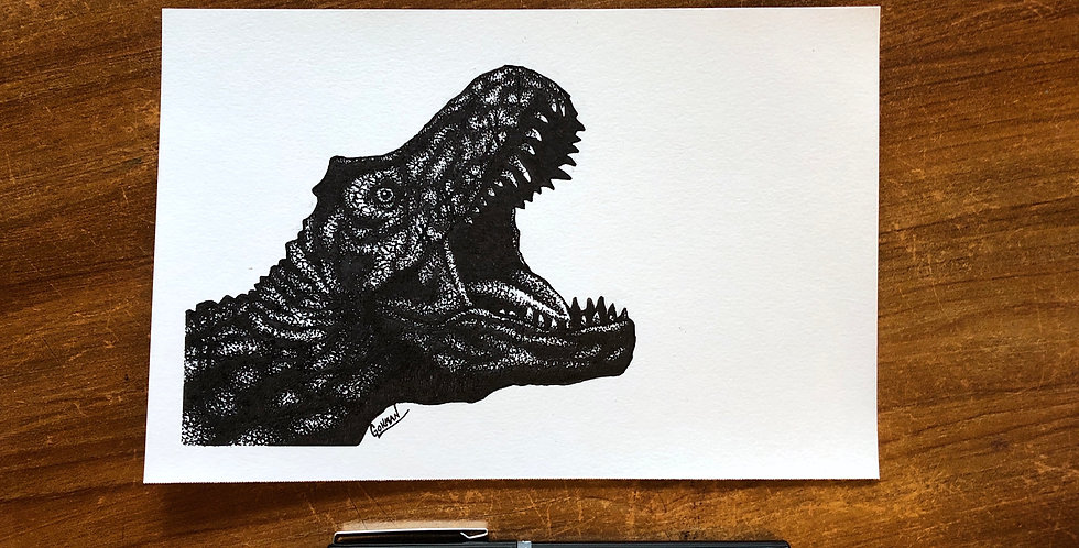 original tyrannosaurus rex ink drawing for sale