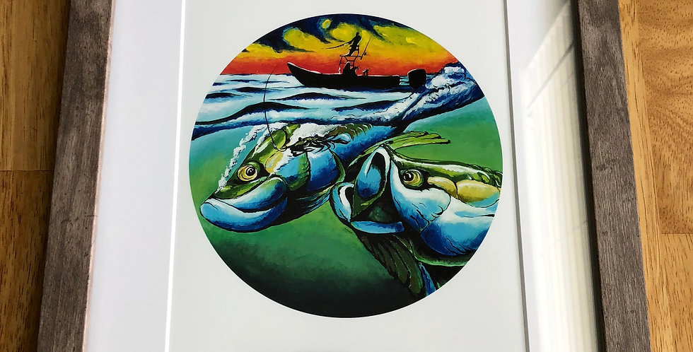 framed tarpon game fish art print