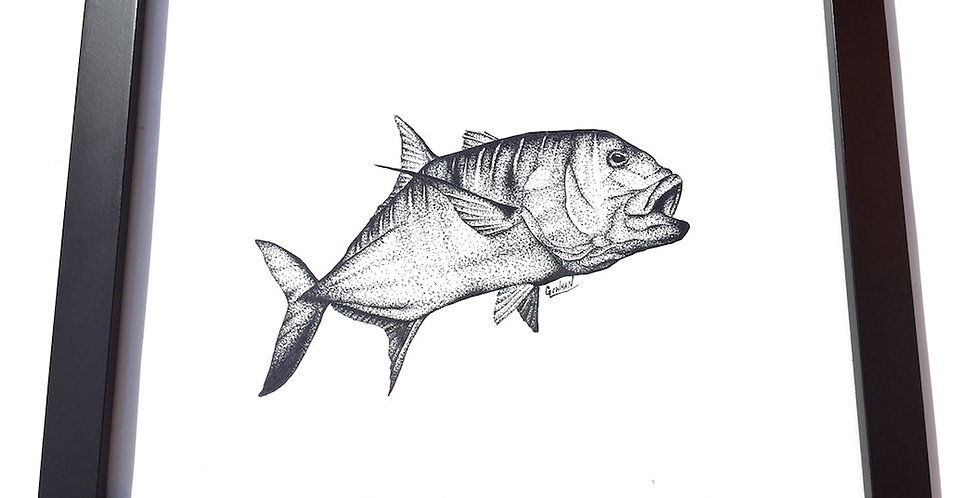 original giant trevally ink drawing