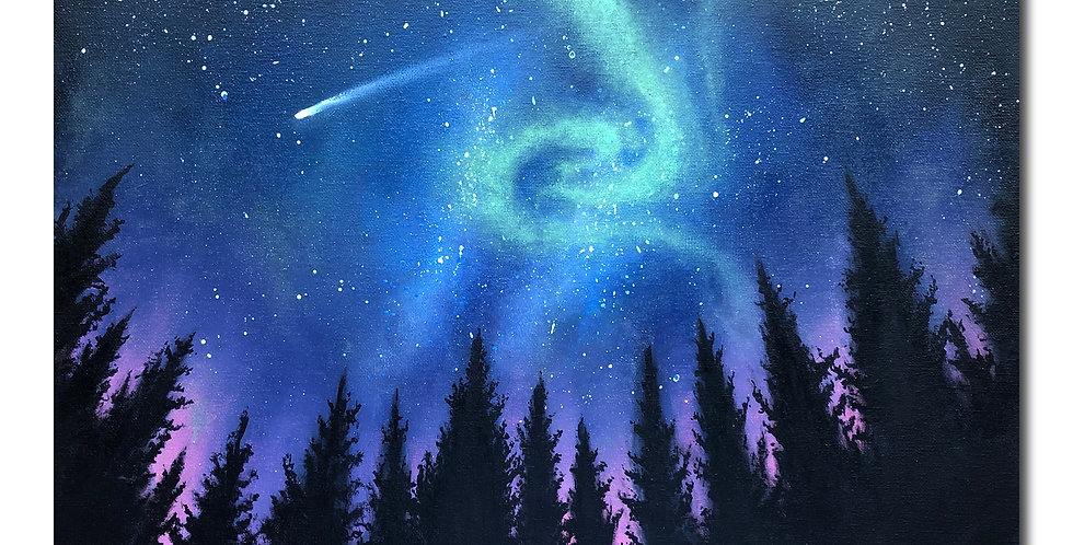 original acrylic Northern lights painting for sale