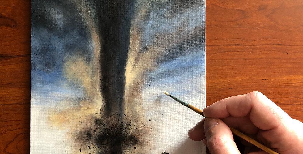 original acrylic tornado painting for sale