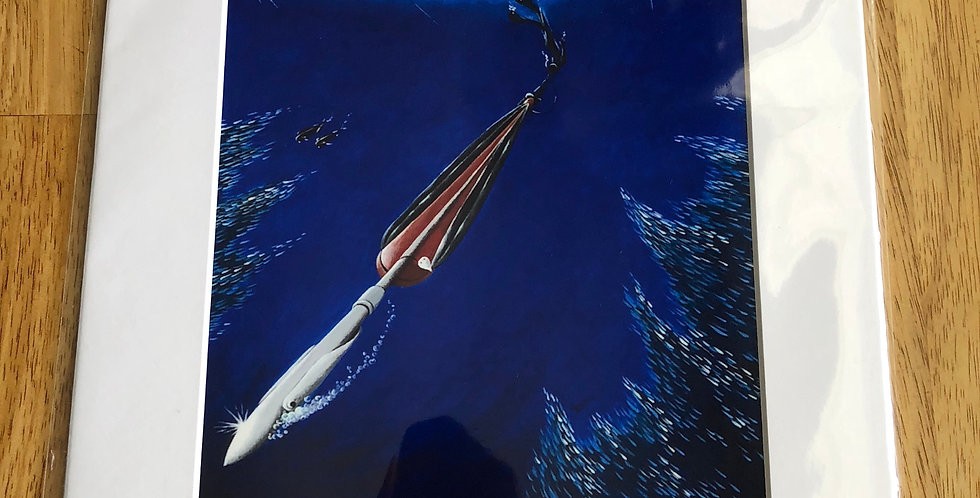 unframed spearfishing art print for sale