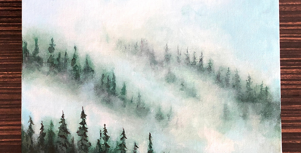 pine forest in the mist painting