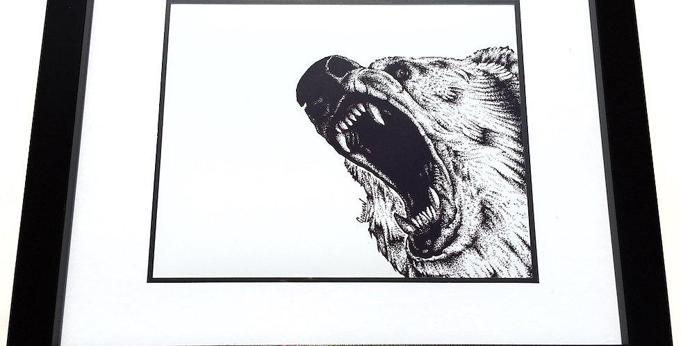 framed grizzly bear art print
