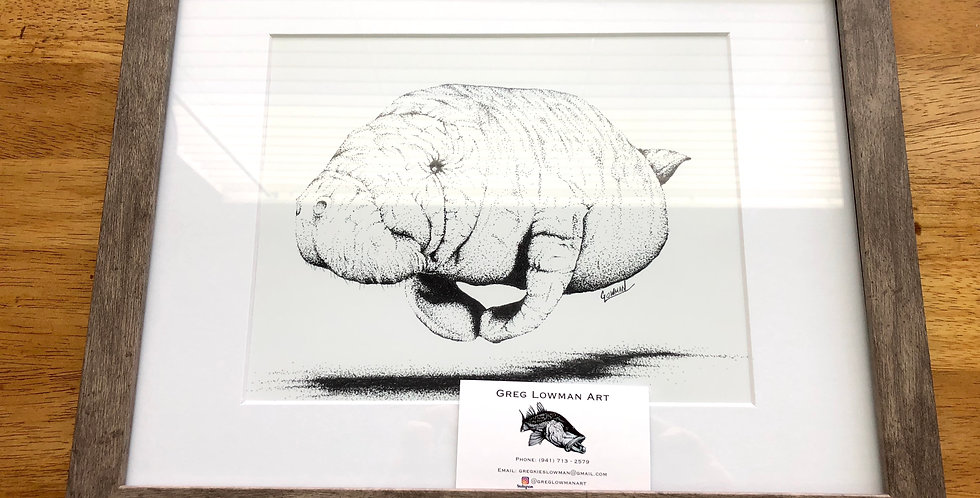 framed Florida manatee art print for sale