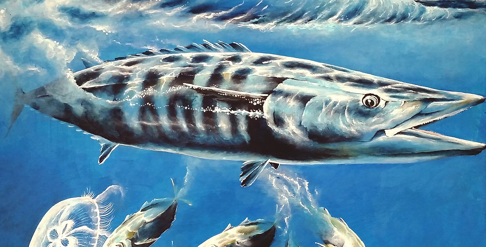 original acrylic wahoo game fish painting