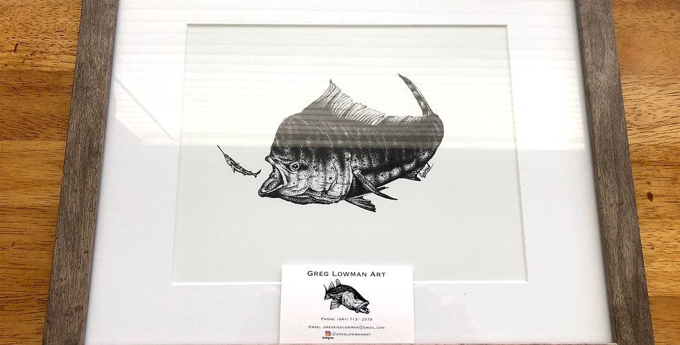 framed mahi game fish art print for sale