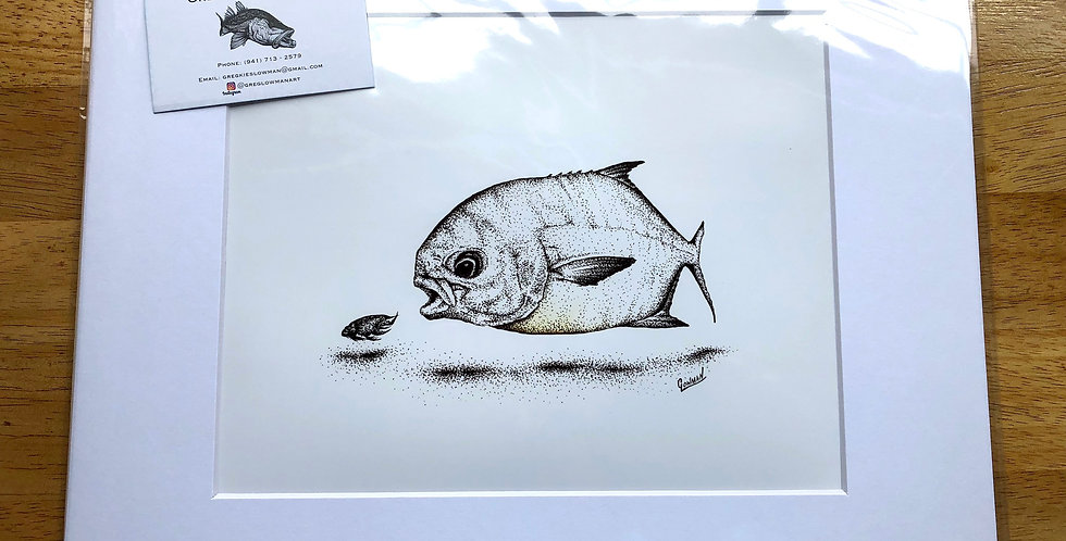 unframed pompano surf art fishing prints