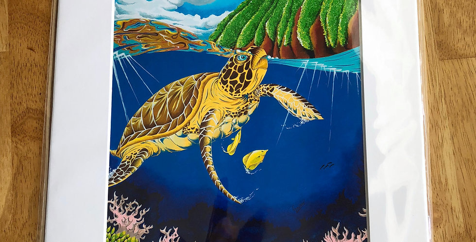 unframed marine life turtle art
