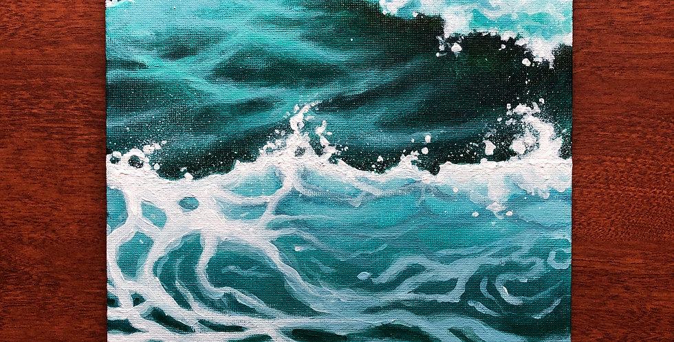 breaking ocean waves painting