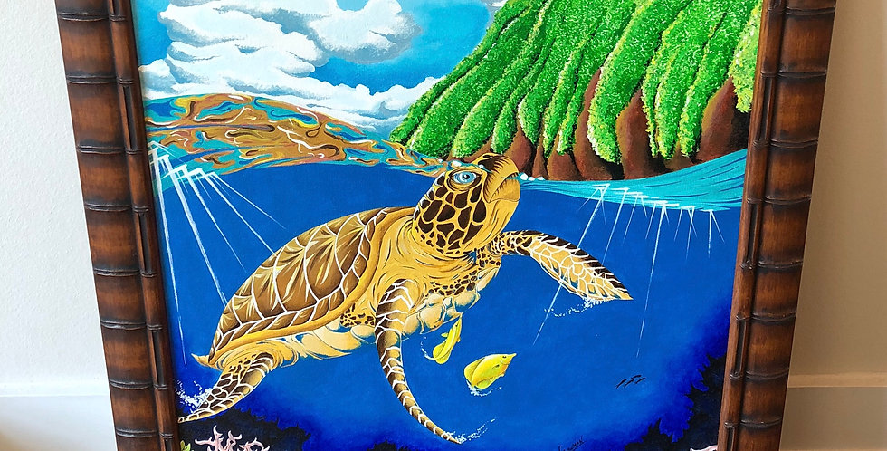 framed original green sea turtle painting for sale