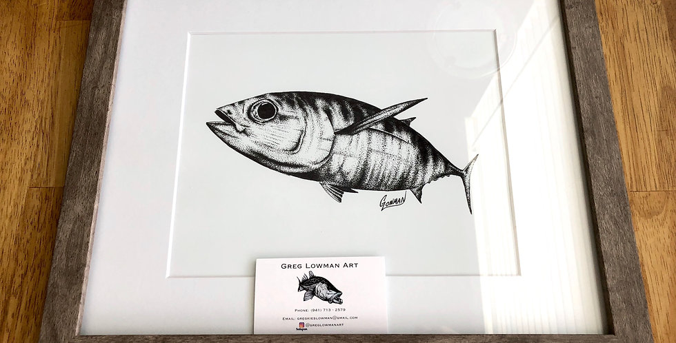 framed tuna game fish art print for sale