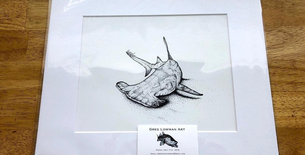 unframed great hammerhead shark art print for sale