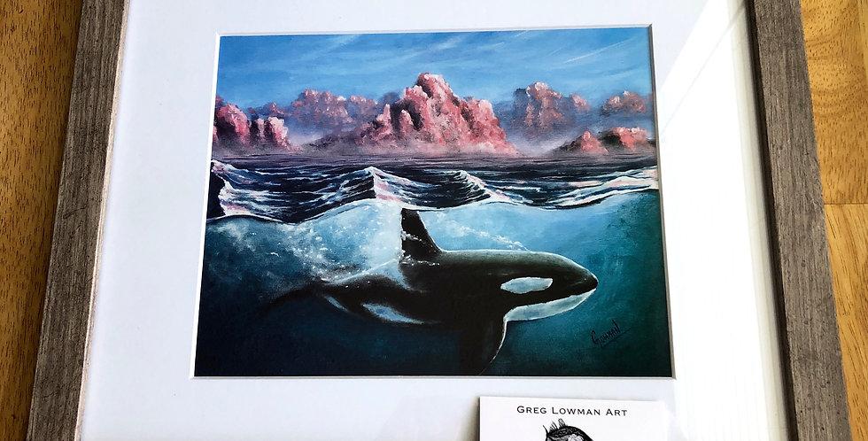 framed killer whale art print
