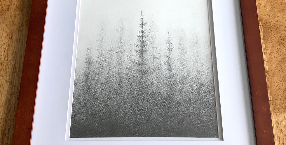 original pine tree forest drawing