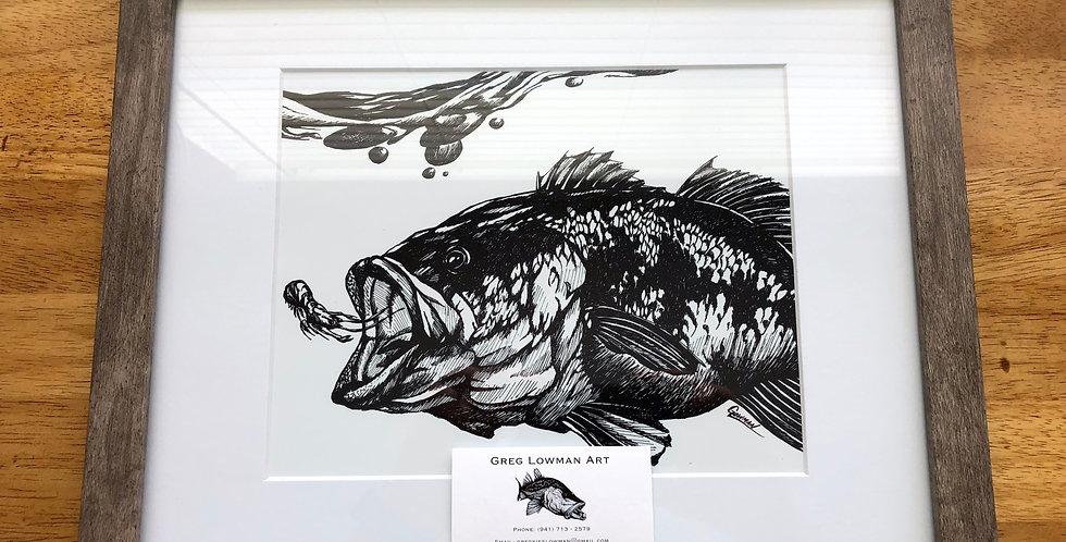 framed largemouth bass art print