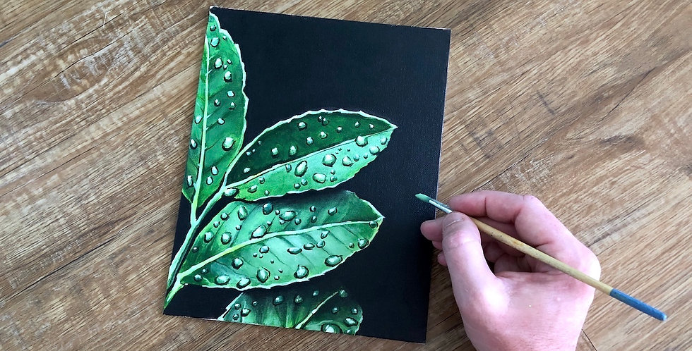 painting of raindrops on leaves for sale