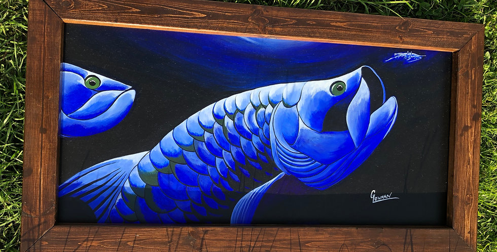 framed original tarpon fish painting for sale