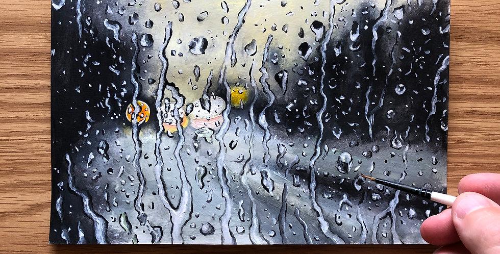 acrylic rainy day painting