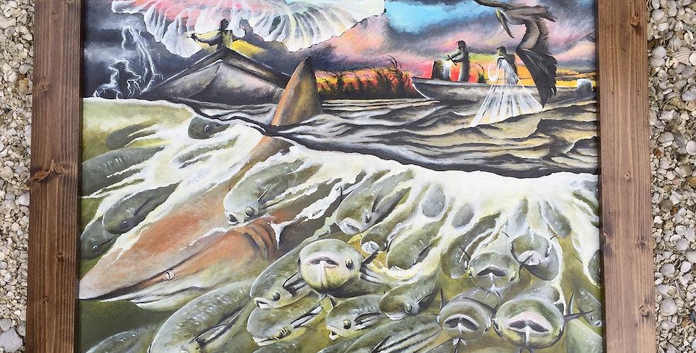 original acrylic mullet and shark painting