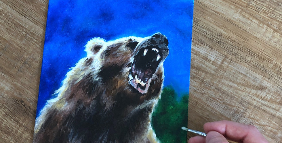 acrylic roaring grizzly bear painting