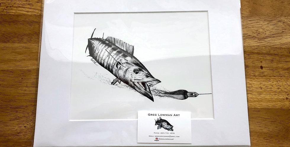 unframed wahoo game fishing art print
